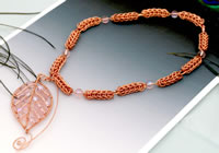 Caprice - Copper and Pink Glass Necklace with Detachable PendantPin